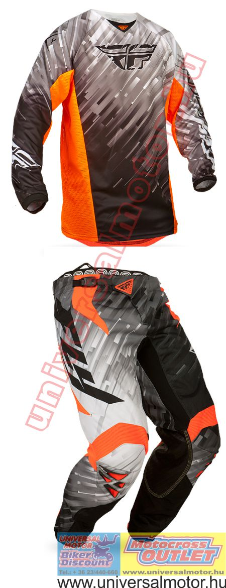 daaa4a6403 Fly Racing Kinetic gyerek cross ruhaszett GLITCH Black-White-Flo-Orange 2015